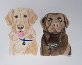 Tara's Listing: DOUBLE Pet 8x10 Custom Watercolor Portrait