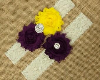 Flower Wedding Garter, Toss Garter, Keepsake Garter, Garter Set, Yellow Wedding Garter, Bridal Garter, Garter, Lace Wedding Garter, SCI2-48