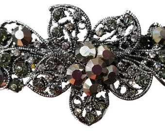 New Antique Silver Floral With Smoke & Black  Crystal 3'' Hair Barrette -Lever Back