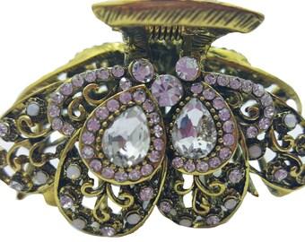 New Antique Gold CZ Crystal & Rhinestone Metal Rhinestone Hair 2 1/4'' Clip Claw