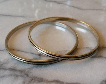 Vintage Set of 2 Silver with Enamel Stackable Bangle Bracelets