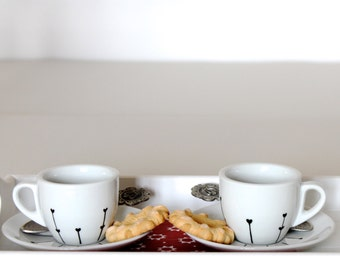 SET of coffee cups espresso ABSTRACT / gift idea for Him Her / couple/ Boyfriend Girlfriend/ Cup of coffee / handmade / Christmas