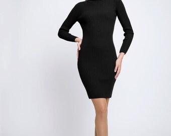 Claudia Black ribbed knit turtle neck dress / merino wool dress / roll neck dress