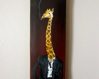 Original Acrylic Painting / Giraffe Smoking in a Tuxedo / Acrylic on Wood Skateboard Deck / Wall Art Decor