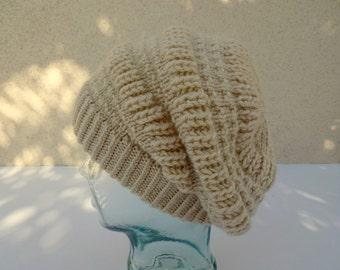 Knit Hat, Knit Beige Cap, Slouchy Beanie, Off White Knit Hat, Womens Knit Hat, Mens Knit Hat, Teen Knit Hat, Cream White Slouchy