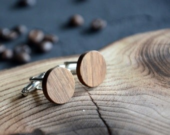 Men Cufflinks Minimalist Rustic Wooden Personalized Custom Cuff Links for Wedding Groom Best Man Gift for Boss Business Man Father