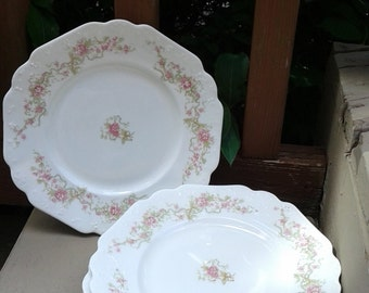 Pink and White Floral Salad Plates, JOHNSON BROTHERS, Set of 4