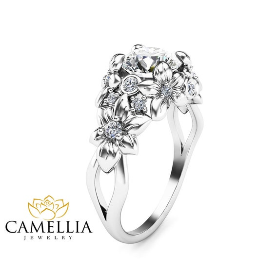 white gold moissanite engagement ring floral ring nouveau