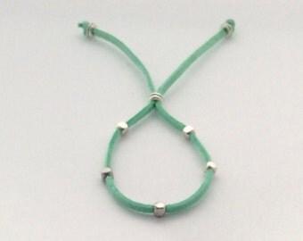 Boho bead bracelet, String bracelet, minimalist bracelet, silver bead bracelet, hippie bracelet, friendship bracelet, simple cord bead