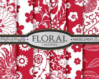 Red Digital Paper: Red Flower Digital Paper Pack, Red Floral Paper, Red Flower Patterns, Cardinal Red Floral Backgrounds, Red Paper Pack