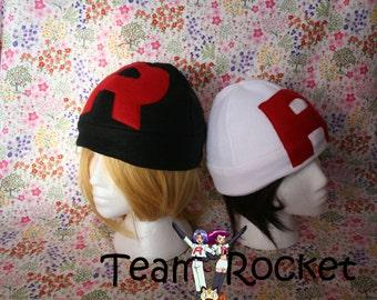 Team Rocket Fleece Hat-Choose between Black or White-Pokemon Fandom-adult/kids size-Great geeky gift
