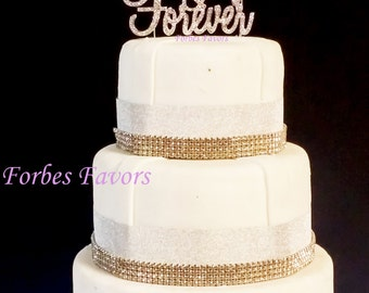 Real Rhinestone Always and Forever With Diamond Set of 2 Silver Wedding Love Cake Topper By Forbes Favors