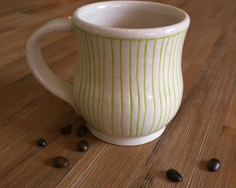 Chartreuse and White Striped Handmade Ceramic Mug