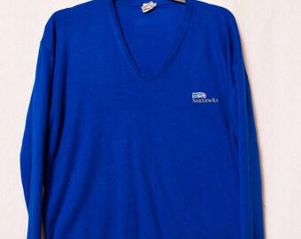 Seahawks Blue Sweater, Vintage Seahawks V-Neck Men's Sweater, Men's Vintage Seahawks Embroidered Sweater