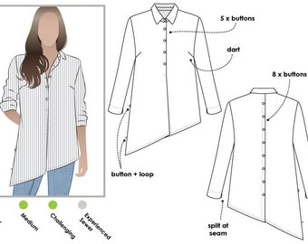Crystal Overshirt PDF Sewing Pattern // Sizes 10, 12, 14 // Digital PDF sewing pattern by Style Arc