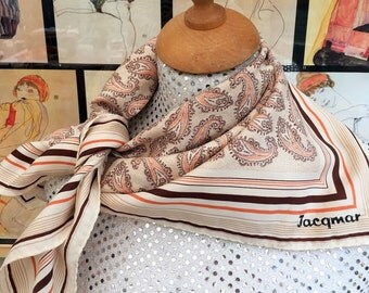 Women's vintage 1960's Jacqmar scarf. Paisley style print.