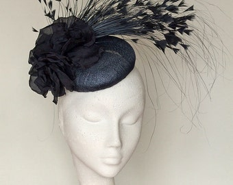 Navy Blue Fascinator Headpiece