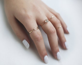 x3 Stacking Ring Set in 14k Gold Filled or Sterling Silver/ Minimalist and Herkimer Diamond Ring / Engagement / Delicate Wedding / Layered