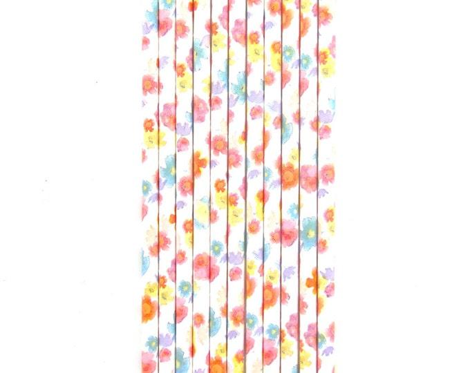 Pastel Flower Straw, Decorative Straw, Graduation Decor, Buffet, Paper Straw, Party Decor, Rustic Wedding, Spring Decor, Flower Power