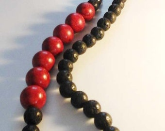 Lava and coral necklace