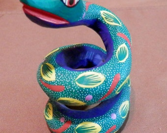 Colorful Wood Carved Snake Southwest Style Art - Artist Signed by CIRILO R S