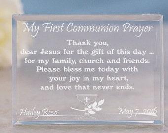 My First Communion Prayer Keepsake, First Communion Egraved Keepsake