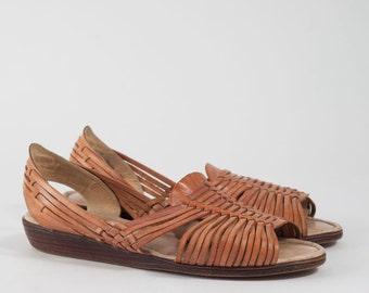Vintage Tan Huarache Sandals | 80s 90s Woven Leather Flats | Women's Size 7