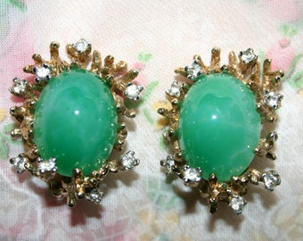 """Vintage """"PANETTA"""" clip on earrings-slightly marbled jade green oval cabochon cradled in small gold metal branches with clear rhinestones"""