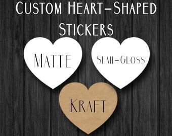 Custom Heart Stickers - Personalized Heart Stickers - Envelope Seal - Wedding Sticker - Anniversary Sticker