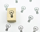 Lightbulb Rubber Stamp, Hand Carved Stamp