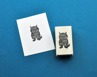 Wild Thing I'll eat you up I love you so Rubber Stamp, Hand carved Wild Things Inspired stamp, Hand Carved Stamp