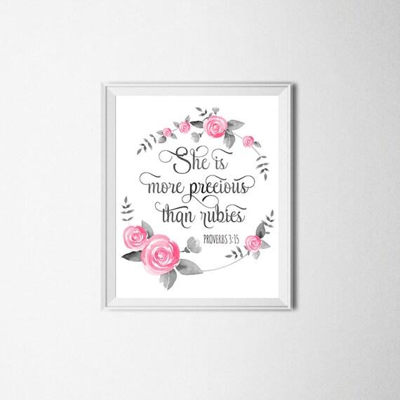 Bible Verse Print She Is More Precious Than Rubies Proverbs