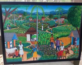Jocelyn Joseph Signed Haitian Folk Art Oil On Canvas Painting Tropical 1 Of 6