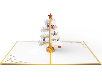 White and Gold Pop up Christmas Tree card is a perfect Christmas Card or Happy Holidays card.