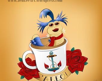 The Labyrinth Worm Poster Print - 'Allo!' - Cute Retro Movie Tattoo Design