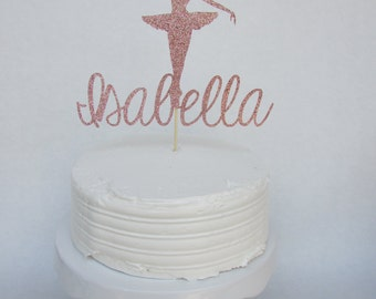 Ballerina cake topper, personalized with name, dance recital, ballerina party