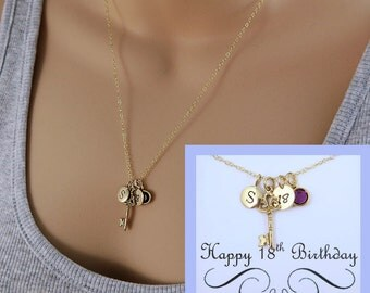 18th Birthday Necklace With Message Card, Gift For 18th, 18th Key Necklace, 18th Gift For Her, Birthstone Necklace, Birthday Jewelry