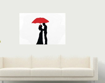 Umbrella Couple Large Modern Minimalist Wedding RED Art Hand Painting On Canvas Contemporary Original Black And