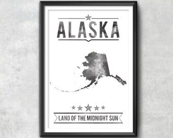 Alaska State Typography Print, Typography Poster, Alaska Poster, Alaska Art, Alaska Gift, Alaska Decor, Alaska Print, Alaska Love, Alaska