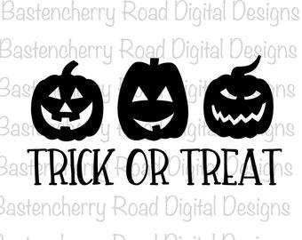 Halloween SVG File, Cut Files, Pumpkins Trick or Treat - Halloween - Cutting File, Instant Download, Vinyl