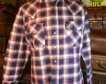 Vintage The Men's Shop JC Penny Red & Blue Heavy Weight Plaid Pearl Snap Long Sleeve Shirt Men's Large--Made in the USA