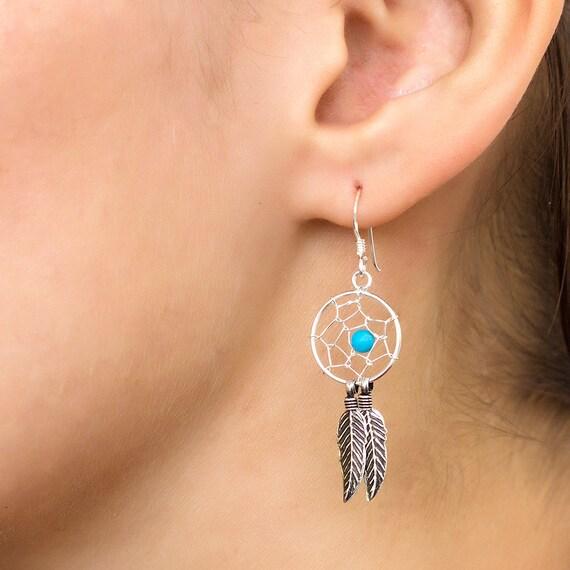 Bohemian silver earrings with Turquoise. turquoise earrings. silver earrings. boho earrings. native american earrings.dream catcher earrings
