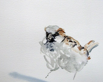Sparrow original watercolor. Common sparrow bird painting. House sparrow watercolour painting, birding gift, not a print 7 x 10 in. 18x25cm
