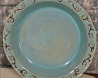 Turquoise Blue, Brown and a hint of Purple Pie Plate or Serving Bowl