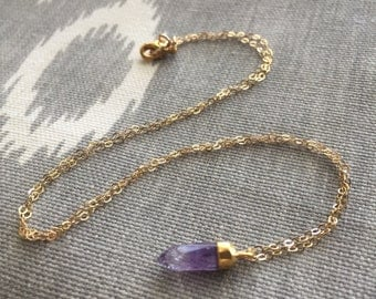 Purple in Gold// Amethyst Pendant Layering Necklace in Gold