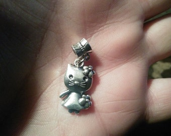 HELLO KITTY charm on a decorative bead, both made of Tibetan silver,Fits Pandora