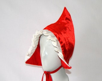 red ridding hood bonnet,dutch bonnet,bonnet,red velvet bonnet,little red ridding hood bonnet,ducht girl hat,dutch cap