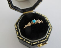 Fine Antique tiny victorian 18K gold, Turquoise and pearls Ring / French old Jewelry/ stacking ring