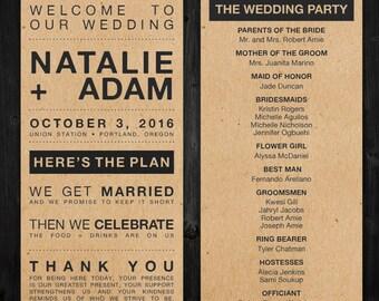 Simple Urban Wedding Program Printable