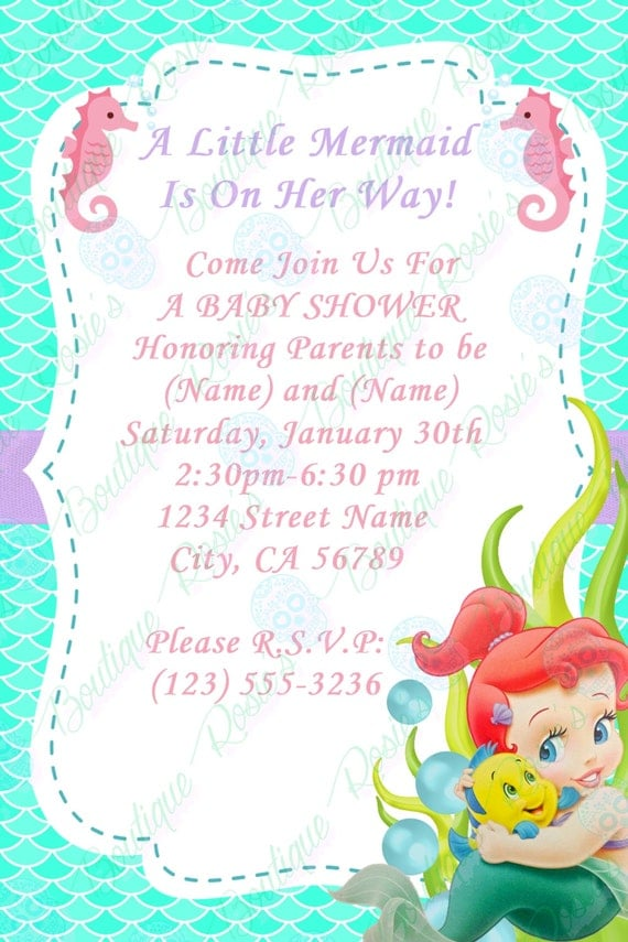 ariel baby shower invitations